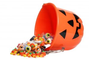 A spilled bucket of Halloween candy.