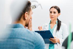man visits dentist in Mesquite